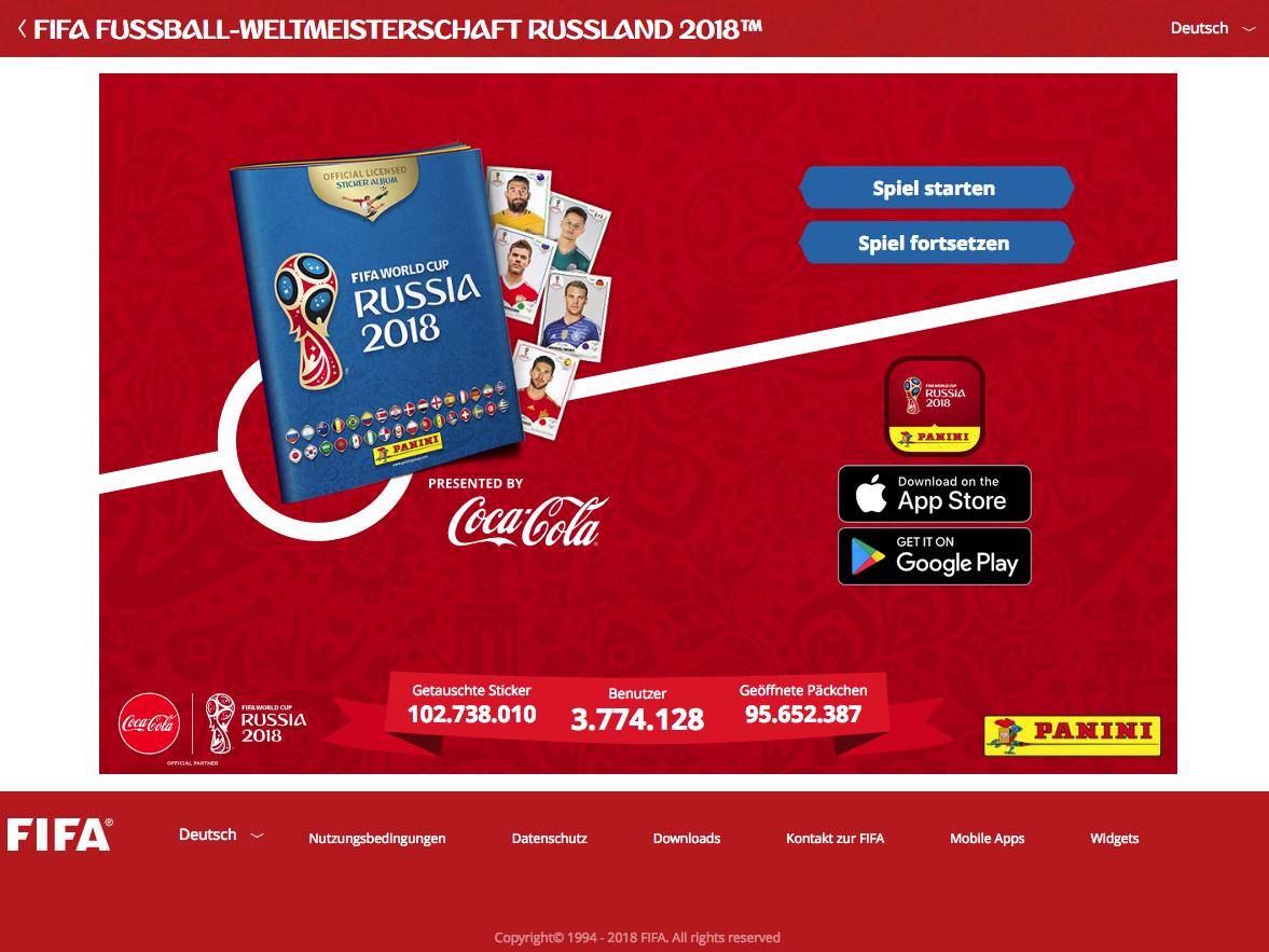 Screenshot der Webseite paninistickeralbum.fifa.com