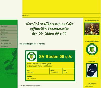 SV Süden 09 Webseite