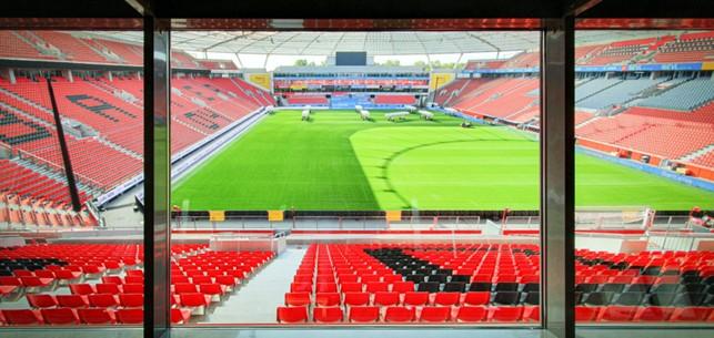 Blick aus VIP Bereich ins Stadion von Bayer 04 Leverkusen